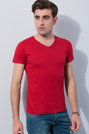 Sateen Erkek Bordo Slim Fit V Yaka T-Shirt