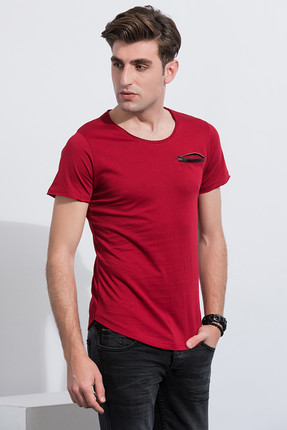 Sateen Erkek Bordo Slim Fit Cebi Fermuarlı T-Shirt