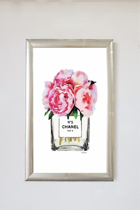 LYN HOME & DECOR Pembe Vazo Tablo 20x30 Gümüş