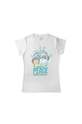 Kadın Beyaz Rıck And Morty Peace Among Worlds T-Shirt ART000196MK