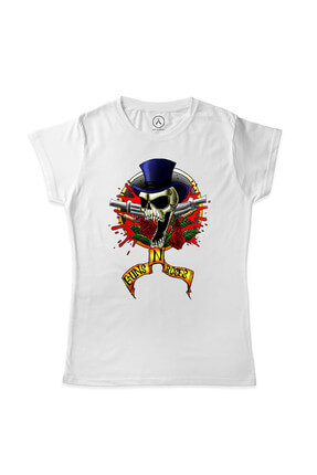 Kadın Beyaz Guns And Roses Skull And Blood Logo T-Shirt