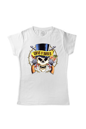 Kadın Beyaz Guns And Roses Barbed Skull Logo T-Shirt