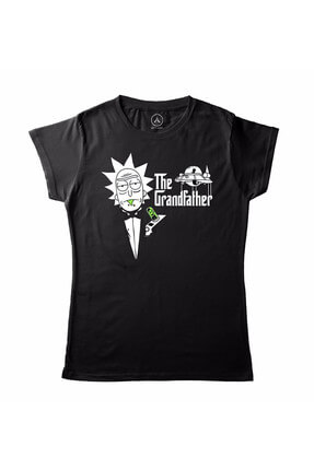 Kadın Siyah Rıck And Morty The Grandfather T-Shirt