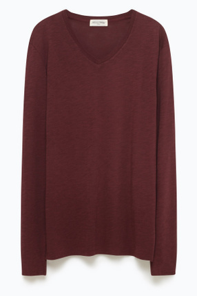 Erkek Bordo Tee-Shirt Ml Col V Sweatshirt