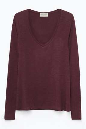 Kadın Bordo Tee-Shirt Ml Col V Sweatshirt