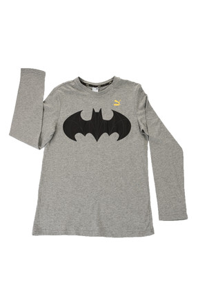 Puma Kids Gri Unisex T-shirt - Justice League LS Tee Medium Gray Heathe -