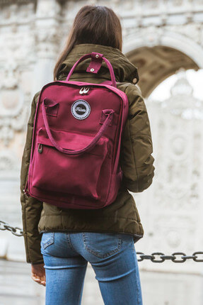 KJM Burgundy Backpack Sırt Çantası