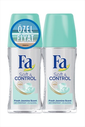 Fa Deodorant Roll-On 2'Li Soft & Control 50 ml + 50 ml