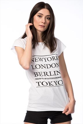 Cotton Mood,Cotton Mood T-shirt,Cotton Mood Beyaz Newyork Baskılı T-shirt