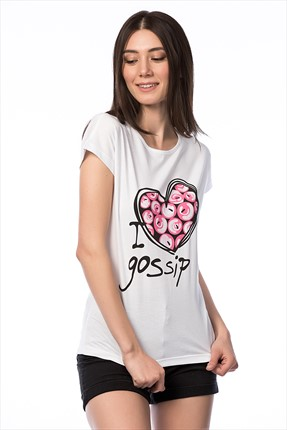Cotton Mood,Cotton Mood T-shirt,Cotton Mood Beyaz I Love Gossip Baskılı T-shirt