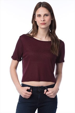 Mightee,Mightee Bluz,Mightee Bordo Kadın Crop Tee Crop01