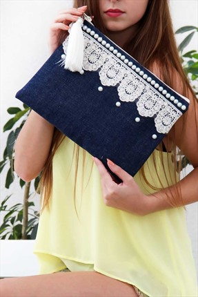 Chiccy,Chiccy Çanta,Chiccy İncili Dantelli Jean Clutch Çanta