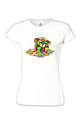 Lord Color Cubes Beyaz Bayan Tshirt