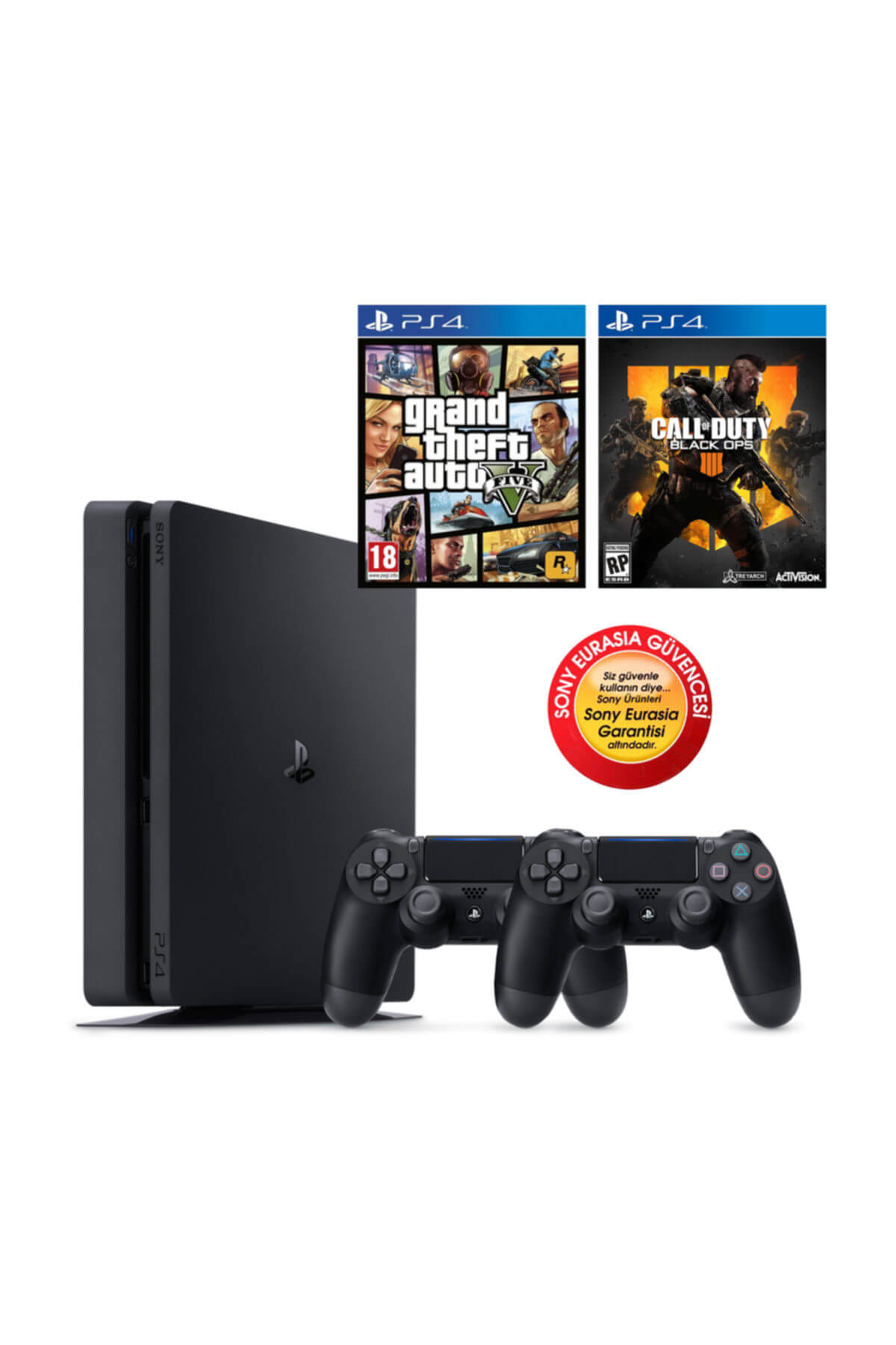 Sony Ps4 Slim 500gb Oyun Konsolu Eurasia Garantili + Ps4 Gta 5 Cod Black Ops 4 2.