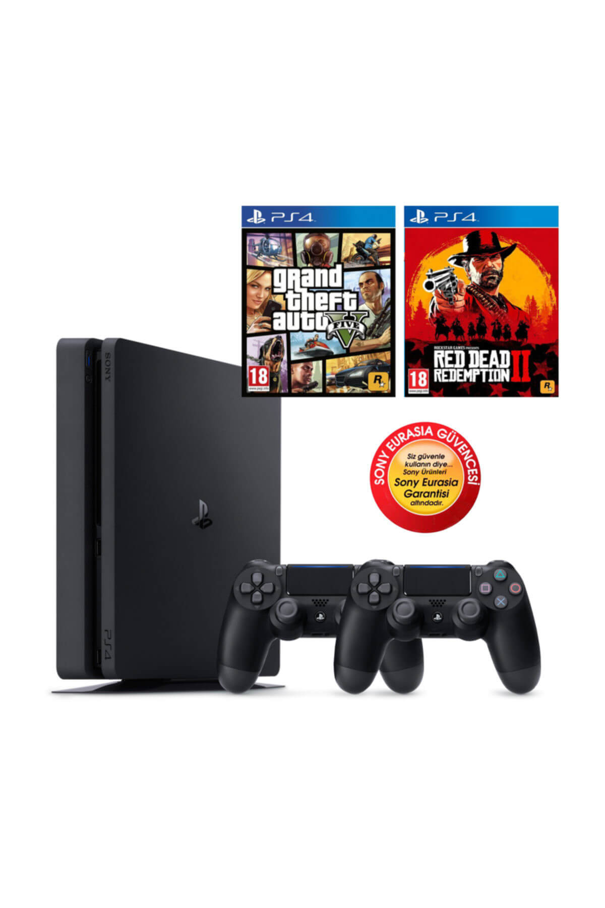 Sony Ps4 Slim 500gb Oyun Konsolu Eurasia Garantili + Ps4 Gta 5 Red Dead Redemption 2 2.