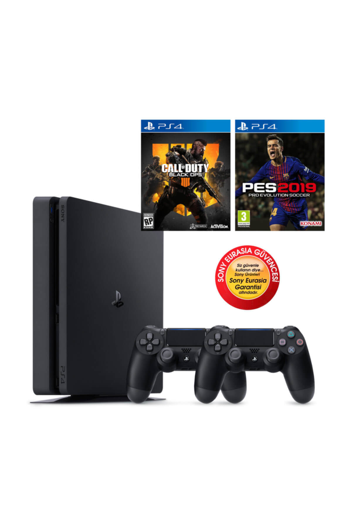 Sony Ps4 Slim 500gb Oyun Konsolu Eurasia Garantili + Ps4 Pes 19 Cod Black Ops 4 2.