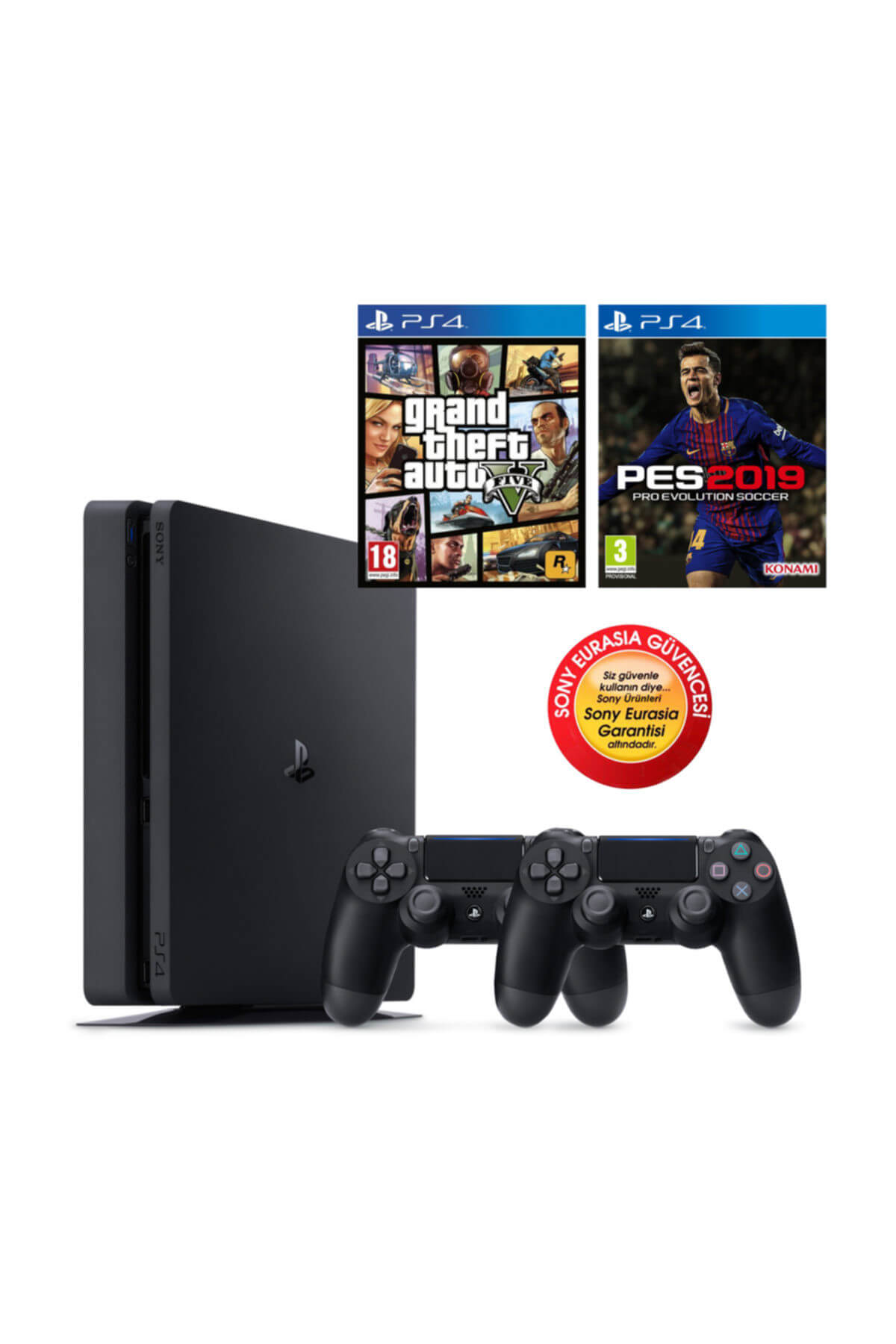 Sony Ps4 Slim 500gb Oyun Konsolu Eurasia Garantili + Ps4 Pes 19 Gta 5 2.