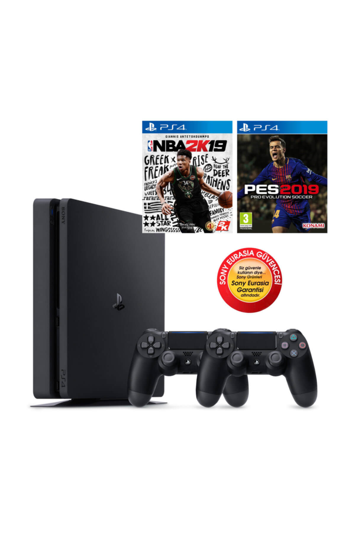 Sony Ps4 Slim 500gb Oyun Konsolu Eurasia Garantili + Ps4 Pes 19 Nba 2k19 2.