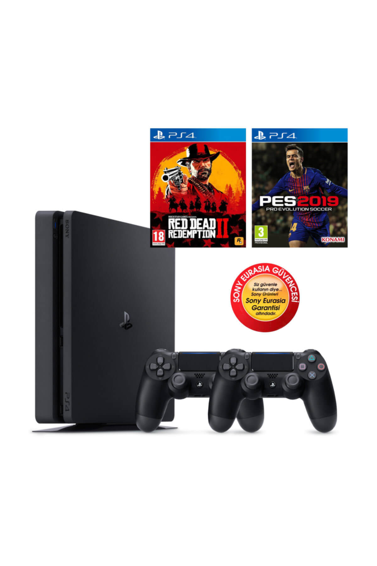 Sony Ps4 Slim 500gb Oyun Konsolu Eurasia Garantili + Ps4 Pes 19 Red Dead Redemption 2 2.