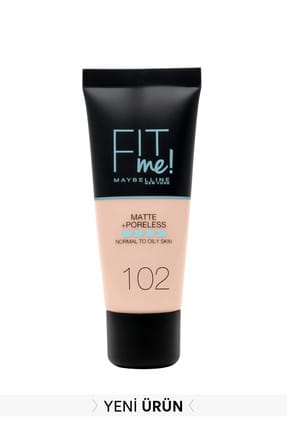 Maybelline Mat Fondöten - Fit Me Matte + Poreless Foundation 102 Fair Ivory 3600531369361