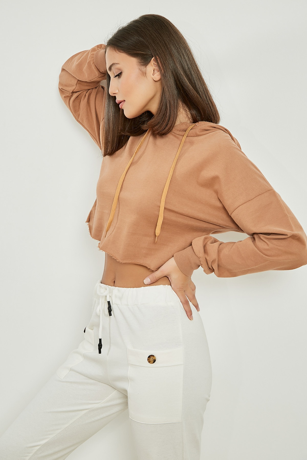 Sateen Kapüşonlu Crop Sweat - TARÇIN