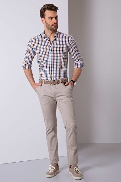 Erkek Bej Slim Fit Chino Pantolon