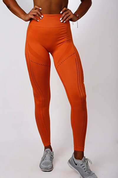 Kadın Dikişsiz Spor Tayt - Orange Power - Seamles Leggings / Aktive Power Serisi