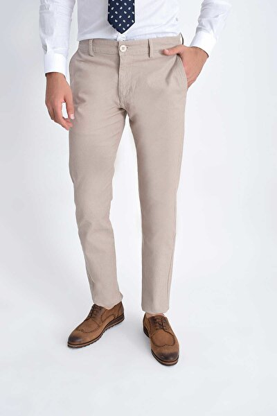 Desenli Slim Fit Bej  Pantolon 29262019C008