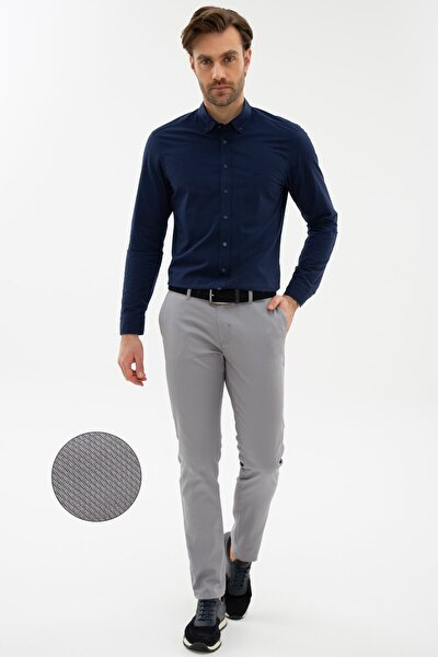 Erkek Gri Slim Fit Chino Pantolon