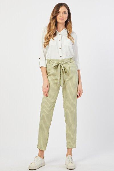 Çizgili Açık Yeşil Pantolon