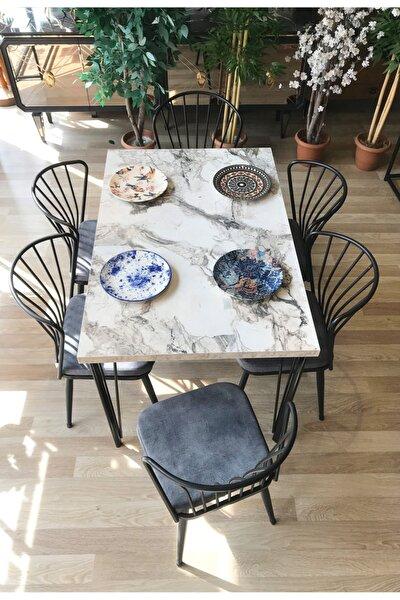 Pera Masa Beyaz Mermer +6 Omega Sandalye Gri