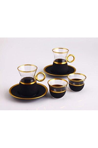 Serra Kulplu Varaklı 6 Kişilik Çay Ve Mırra Bardak Takımı-18 Parça