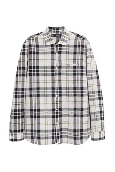 Erkek Beyaz Regular Kesim Kareli Pamuk-Keten Karışımlı Gömlek 67075910
