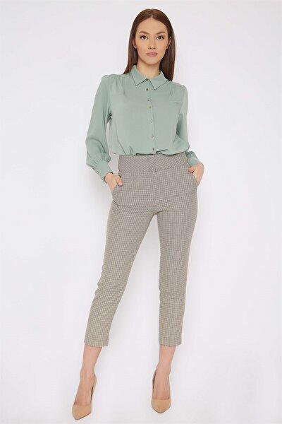 Kadın Cebi Düğmeli Pantolon