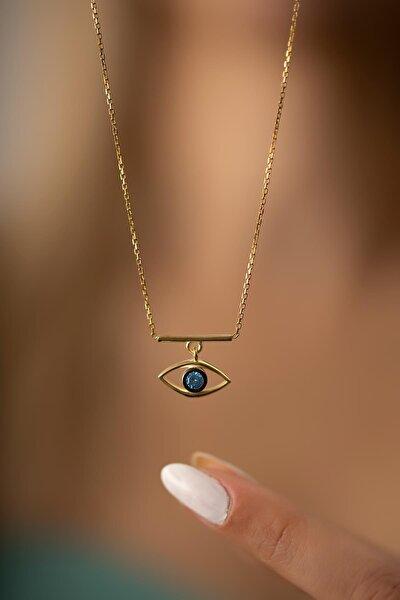 Kadın Göz Model Altın Kaplama Gümüş İtalyan Kolye PKT-TLYSLVR0507
