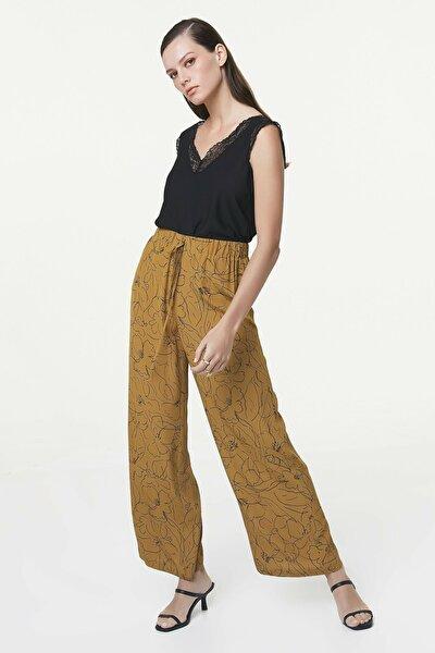 Kadın Hardal Desenli Pantolon IS1200003177024