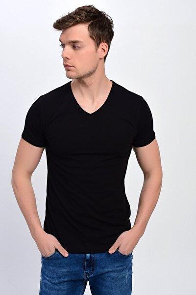 Erkek Siyah V Yaka Likralı Basic T-shirt T339