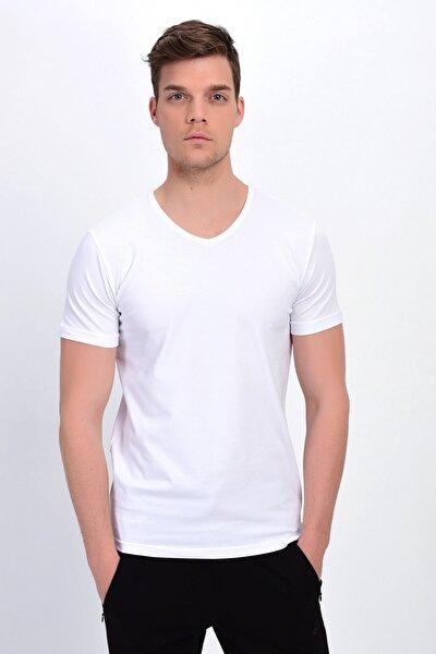 Erkek Beyaz V Yaka Likralı Basic T-shirt T339