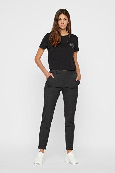 Kadın Koyu Gri Salaş Desensiz Pantolon 10225280 VMMAYA