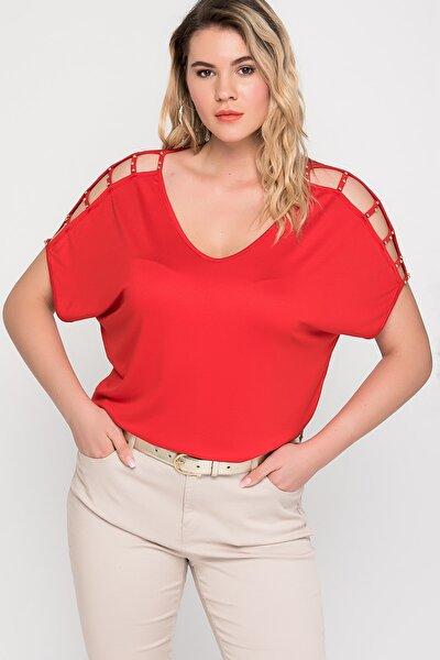 Kadın Kırmızı Omuz Dekolteli İnci Detaylı Viskon Bluz 65N15453