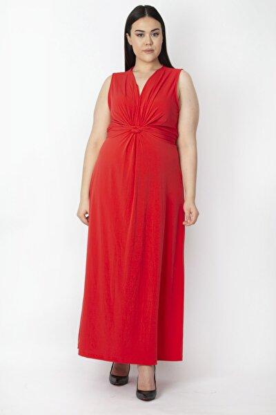 Kadın Kırmızı Göğüs Detaylı Uzun Elbise 65N15499