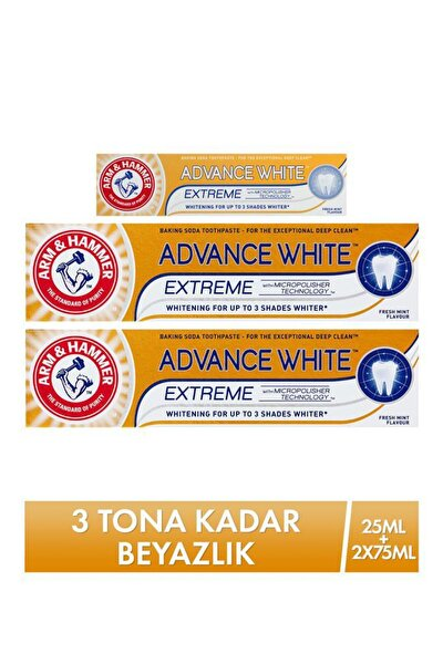 Arm Hammer Advance White Diş Macunu 75 Ml X 2 + Seyahat Boy 25 Ml