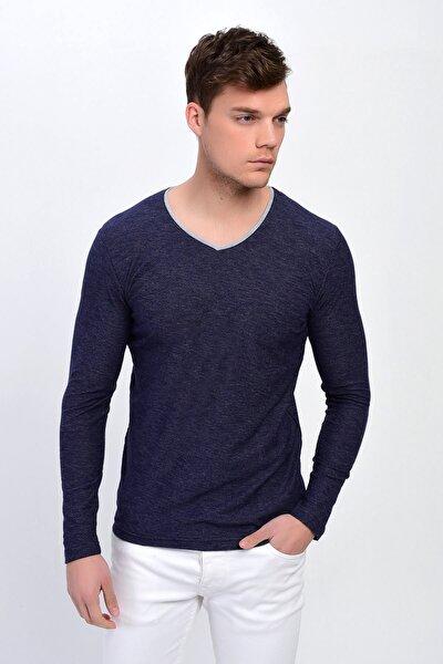 Erkek Lacivert V Yaka Pamuklu Sweatshirt  6567