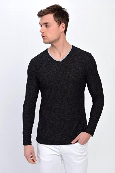 Erkek Siyah V Yaka Pamuklu Sweatshirt  6567