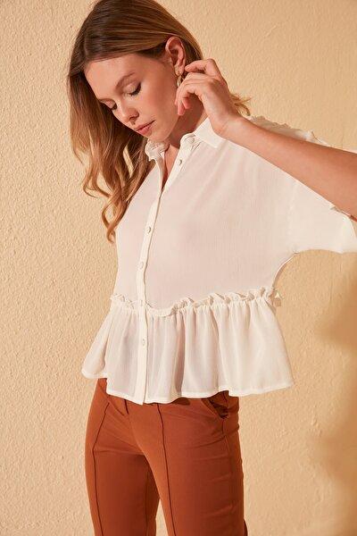 Beyaz Fırfır Detaylı Gömlek TWOSS20GO0365
