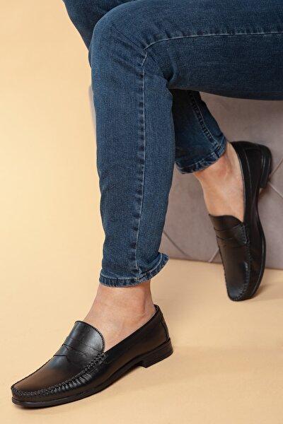 Hakiki Deri Siyah Erkek Ayakkabı DXTRSWMN10180