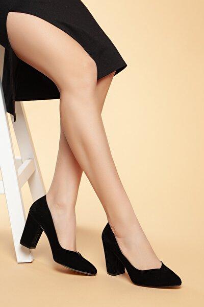 Siyah-Süet Kadın Klasik Topuklu Ayakkabı DXTRSWMNYK710