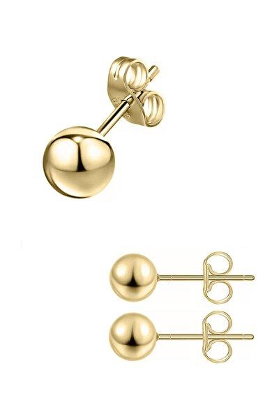 3 Mm Toplu Gold Rengi Çelik Kadın Ve Erkek Top Küpe
