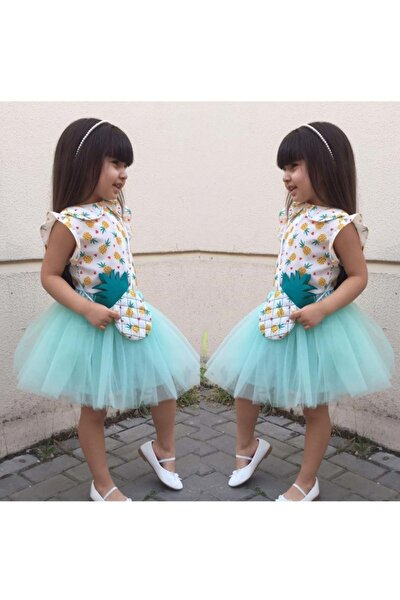 Ananas Detaylı Çantalı Kız Çocuk Elbisesi - Yeşil - 2 Yaş