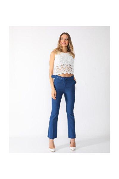Kadın Saks Kemerli İspanyol Paça Kumaş Pantolon